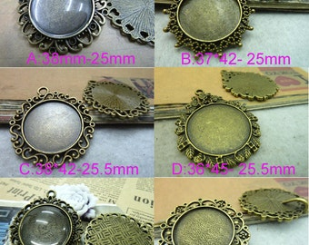 Inner 25mm Antique Bronze Vintage Round Cameo Cabochon Base Settings   charm pendant B25