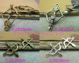 25pcs  Antique Silver / Antique Bronze  arrow ,Cupid's Arrow ,sword & 3D Filigree Bow And Arrow Charm Pendant