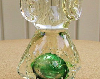 vintage 70s venetian glass bubble owl figurine emerald green bubble  hand made
