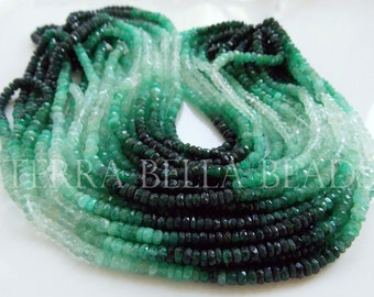 """8"""" half strand shaded EMERALD faceted precious gem stone rondelle beads 3mm - 3.5mm GREEN"""