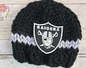 Raiders Knit Earflap Beanie, Newborn Photography Prop, Oakland Raiders Football Team Newborn Baby Hat Black and Gray