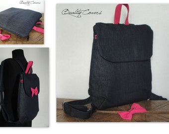 Customizable for Color Fabrics and Size Backpack / Shoulder Pads - Fully PADDED - Laptop Compartment - detachable Bow Brooch