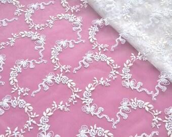 White Lace Fabric, Wedding Dress, Bridal Lace, Ivory and White Fabric,  Bridal Gown, Bridal Veil, Baptism Dress, DIY Wedding Dress