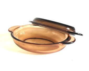 Corning Vision V-14-B Amber Casserette Oval Grab It Dish Glass Lid V14B P14C 400mL