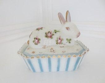 Vintage Rabbit Milk Glass Bunny on Basket Trinket Box Hand Painted Floral Candy Dish (1)