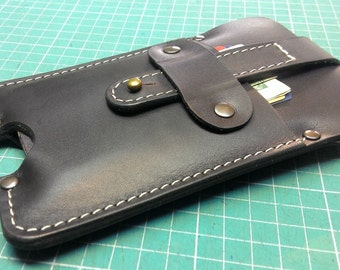 Handmade sleeve to fit iPhone 6 S with lifeproof on it from genuine dark brown leather with belt loop ,personalized free initials