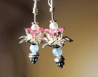 Pink Lotus Earrings - Dangles - Floral - Yoga inspired