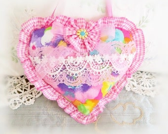 Sachet Heart Ornament / 6 inch / Ruffled Heart Sachet /  Pink Aqua Lavender Heart, Folk Art, Handmade CharlotteStyle Decorative Folk Art