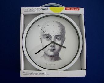Phrenology Head Wall Clock by Kikkerland Steampunk