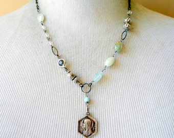 Lourdes Medal Necklace, Religious Assemblage, Saint Bernadette, Aquamarine, Eclectic, Catholic Gift, Vintage Repurposed, Upcycled, Recycled