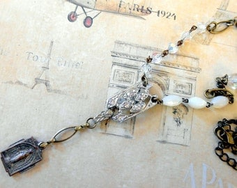Virgin Mary Necklace, Assemblage,Miraculous Medal, Rhinestone Paste, Art Deco, Eclectic, Mother of Pearl, Repurposed, Upcycled, Recycled