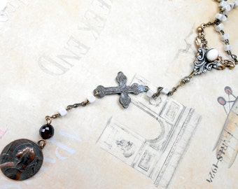Joan of Arc Necklace, Assemblage Jewelry, Rosary, Antique Cross, Religious Medal, Art Nouveau, Vintage Repurposed, Upcycled, Recycled