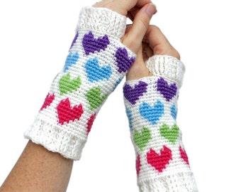 Crochet Pattern ~ Women's Hearts Abound Mitts ~ Crochet Pattern