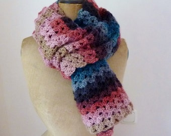 Crochet lace scarf crochet scarf striped shawl