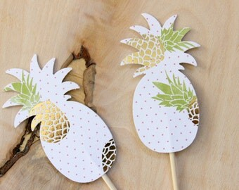 12 Pineapple Cupcake Toppers, Tropical Party, Birthdays, Food Picks, Pineapple Party