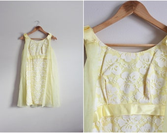 60s Mini Mod Sunshine Dress / Lace Dress / Cape dress / Bridemaids / Size XS/Small
