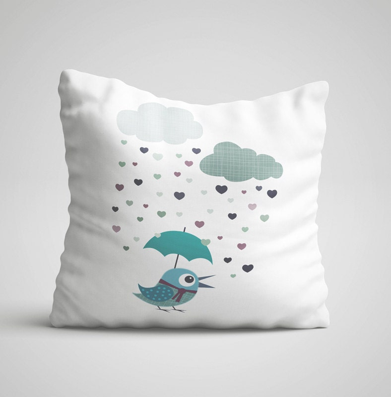 Kids throw pillow with bird decorative throw pillow children