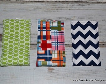 Baby Boutique Burp Cloths - Boy Burp Cloth Set  Madras Navy Chevron Preppy Baby Burp Cloth