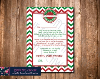 Goodbye Elf Letter So Long Elf Letter Note From Elf Christmas Day Elf Farewell Elf Letter