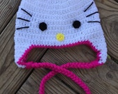 Baby Toddler Girl's Crochet HELLO KITTY Inspired Earflap Hat With Braids ~ You Pick Size: Newborn to 10yrs ~ Cute Winter Hat!