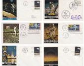 First Man on the Moon, Apollo 11. Set of 6 Vintage Envelopes -- 1960s-1970s