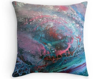 Teal and pink square cushion cover