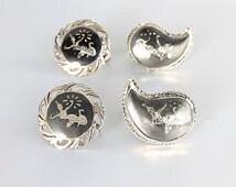 Siam Sterling silver Earrings jewelry Lot Destash, Niello Thai Ramakien dancer Screw Back