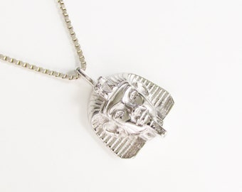 Vintage Sterling Egyptian Pharaoh Sphinx Pendant Chain Necklace