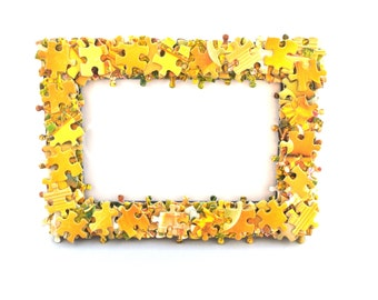 Yellow Jigsaw Puzzle Quirky Photo Frame 4x6 inch Photos Game Bedroom Decor Present for Her Upcycled Gift Pictures Geeky Gamer Summer Holiday
