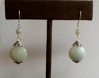 Seafoam Green Faceted Amazonite Earrings with Bead Caps - Milky Green Gemstone Earrings - Pale Mint Green