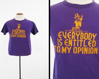 Vintage Soapbox Preacher T-shirt 80s Purple Opinion Champion Tee - Small / Medium