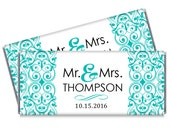 Set of 12 - Wedding Candy Bar Wrappers - Turquoise Wedding - Color can be changed