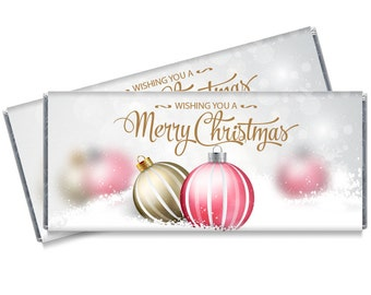 Christmas Ornaments Personalized Candy Bar Wrappers - Perfect Christmas party favors or stocking stuffers
