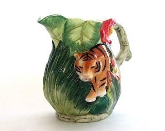 Vintage Majolica  Ceramic Jungle Tiger Leaves Bamboo Pitcher