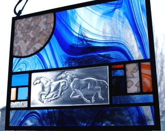 Horse Stained Glass Window Panel Running horses moon orange blue stallion bronco
