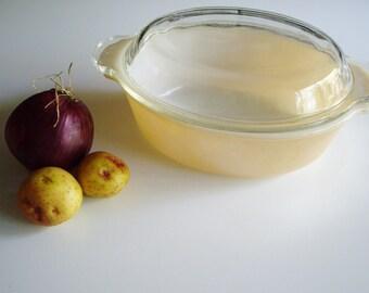 Vintage, Casserole Dish, Fire King, Peach Lustre, Mid Century, Oval Casserole, Peach Luster, Lidded Casserole, Medium, 1.5 Qt, Iridescent,
