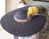 Reserved Listing for Margaret.  Abigail Ladies Hat Black with feathers.