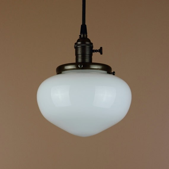 Pendant Light w/ Acorn Shaped School House Globe - Hand Finished in Oil Rubbed Bronze, Milk Glass Globe - Antique Reproduction Cloth Wire