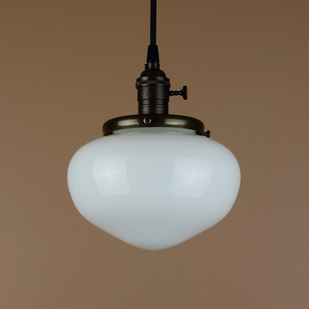 School Bathroom Fixtures pendant light w/ acorn shaped school house globe hand