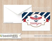 Nautical Baby Shower 4x6 foldable and postcard Thank You Card Instant Download