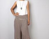 Wide Leg Pants  - Comfy Pants  -  Long Wide Leg Pants - Brown Striped Pants : Urban Chic Collection no.22