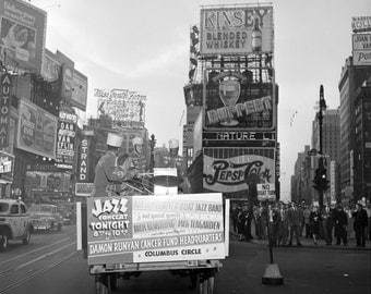 """1947 Photo, New York City Times Square, Jazz music, concert ad, Louis Armstrong, 24""""x24"""""""