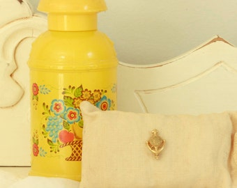 "Vintage Avon Collectibles - Avon Perfume Bottle - ""Avon Calling"" Pin - Yellow Avon Perfume Bottle with Fruit and Floral Design"