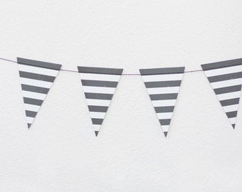 Black Horizontal Stripe / Mini Pennant Garland - 8 feet with 32 Pennants