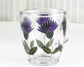 Thistle Glass Mug, Hand Painted Glass Mug,  Coffee Mug, Tea Mug, Glass Mug with Thistles, Botanical Mug, Glass Botanical Thistle Mug