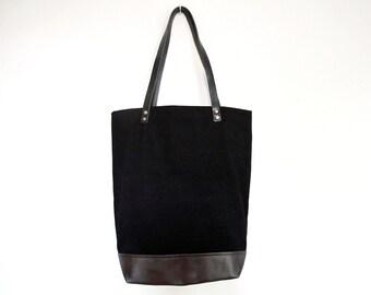 Repurposed Black Leather and Black Denim Tote Bag