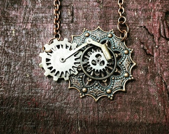 Steampunk Filigree Lever Necklace