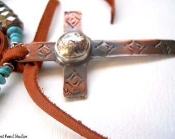 SALE - Handmade Jewelry, Southwestern, Copper Cross Pendant, Sterling Silver Cab, American Turquoise, Pyrite, Saddle Brown Leather Necklace