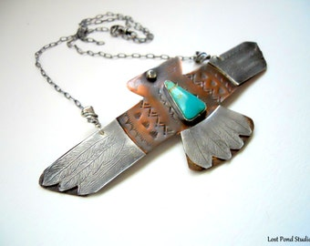 Handmade, Thunderbird Pendant, Copper, Sterling Silver, Southwestern Jewelry, One of a kind, Thunderbird Jewelry, Kingman Turquoise Jewelry