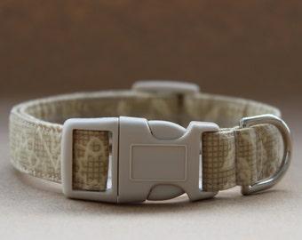 Handmade Cotton Dog Collar - Khaki and Cream Design